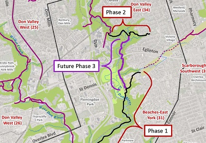 map of East Don Trail project phases