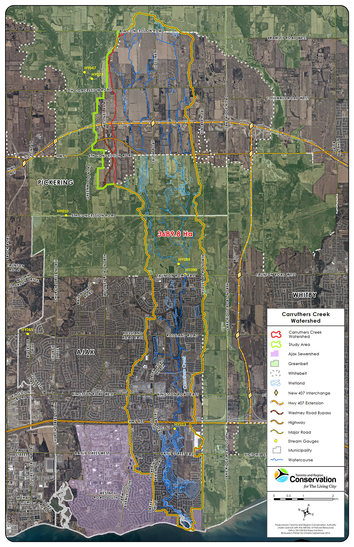 Carruthers Creek watershed study area map