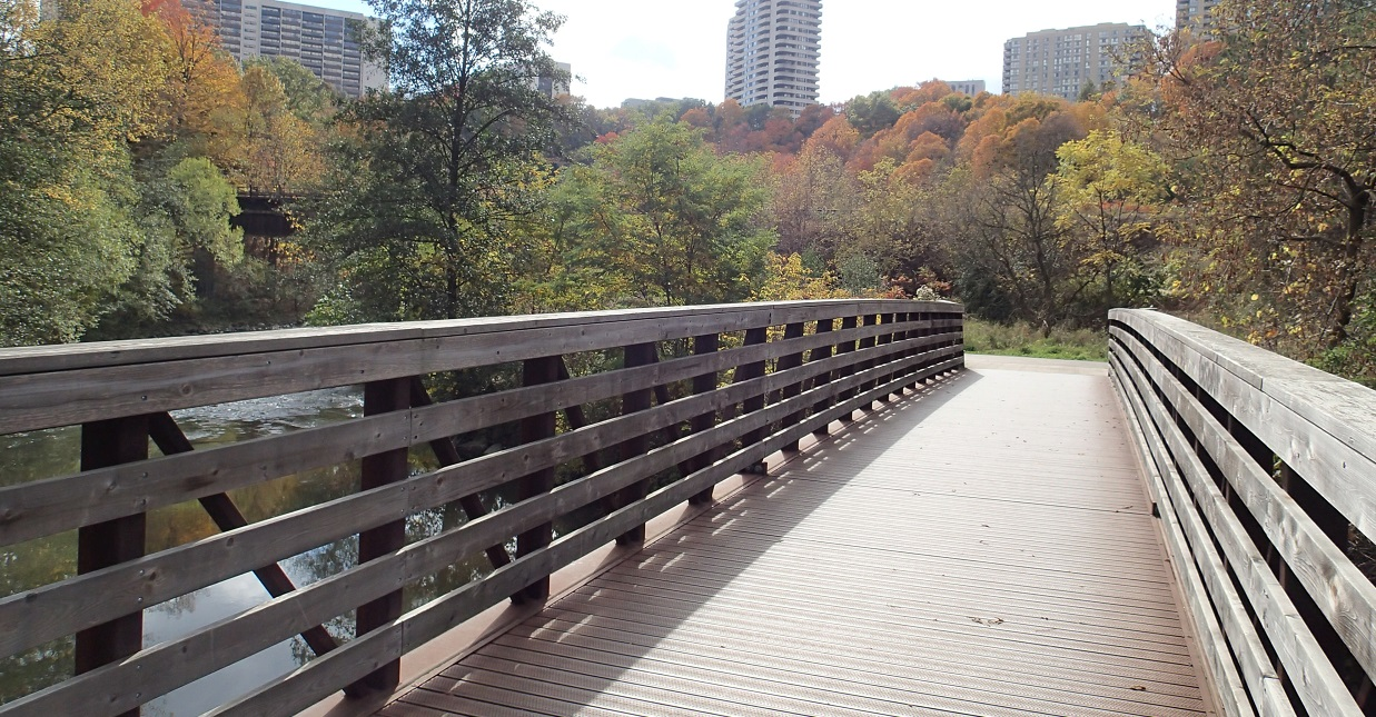 newly completed bridge on East Don Trail
