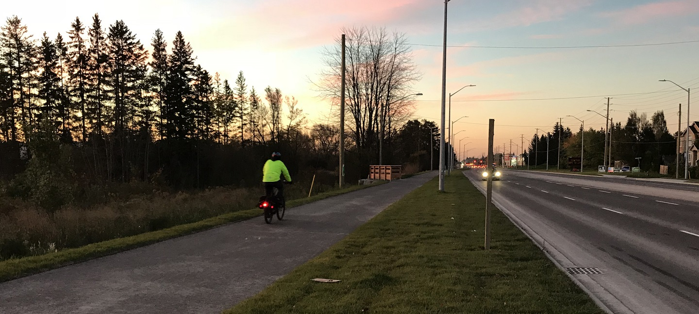 cyclist on tree-lined trail next to city street at sunset