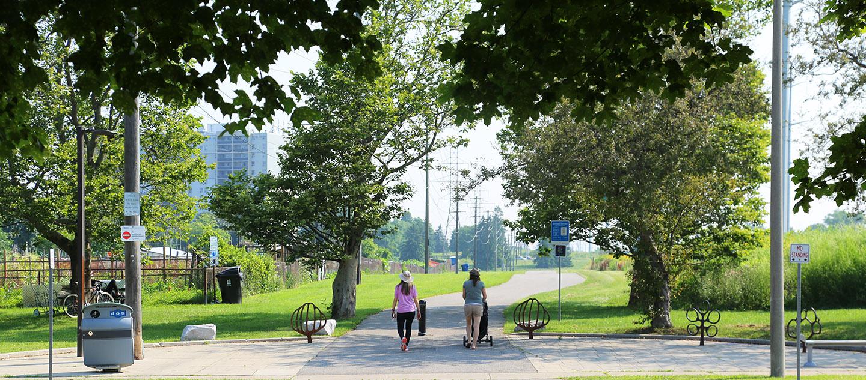 women walking on urban trail