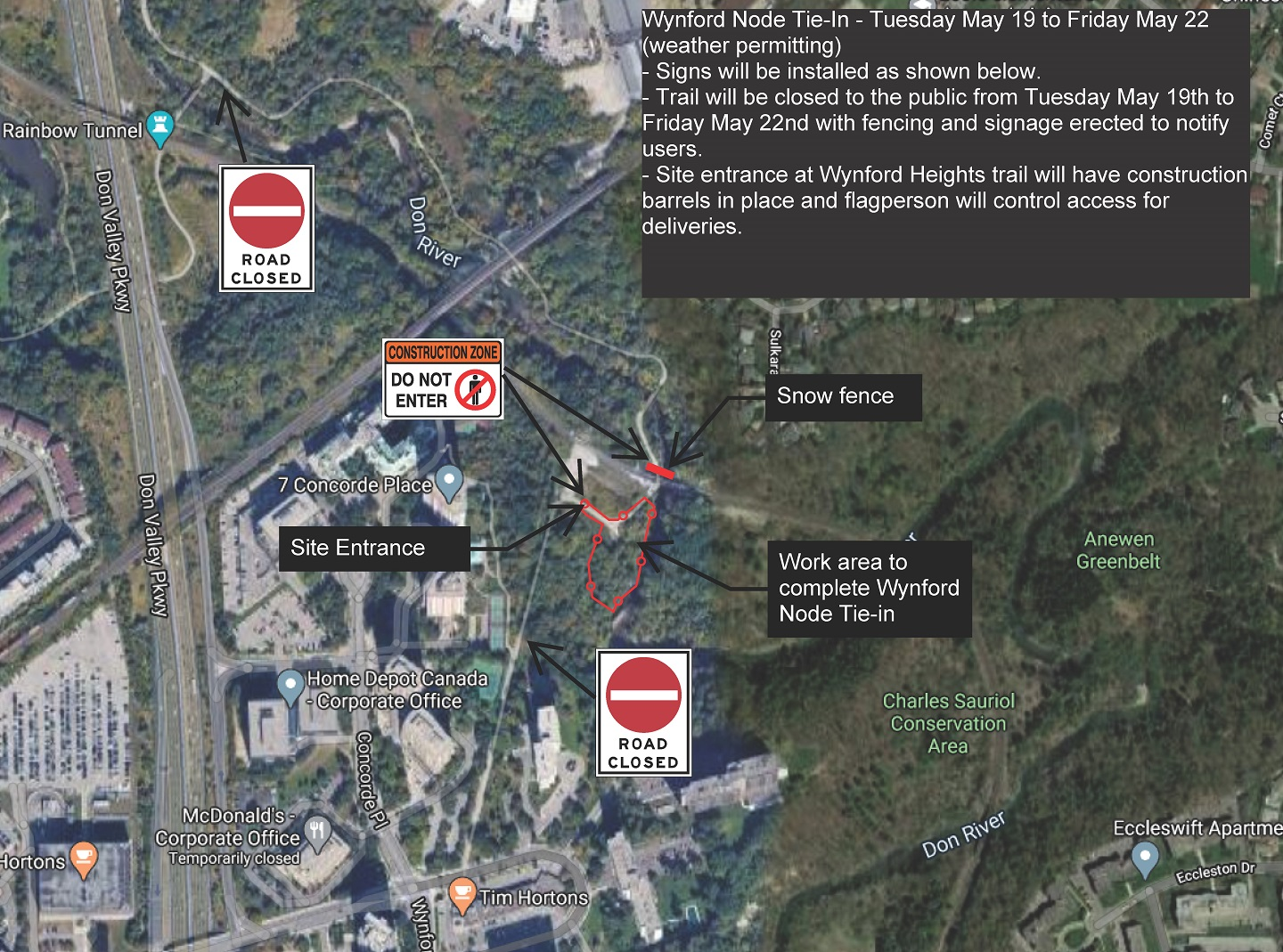 map showing location of East Don Trail closure at Wynford Drive