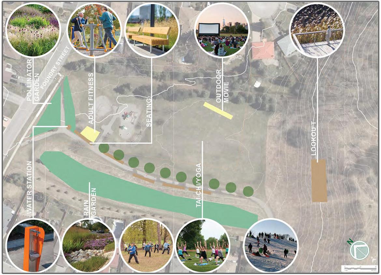Foundry Park trail node concept plan