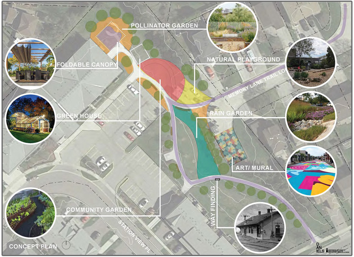 concept plan for Ridgewood Crescent at Stationview Place trail node