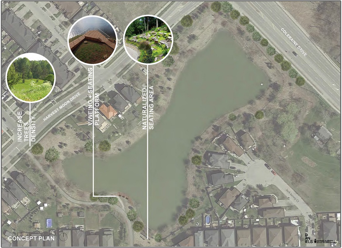 concept plan for stormwater pond at Harvest Moon and Coleraine Drives