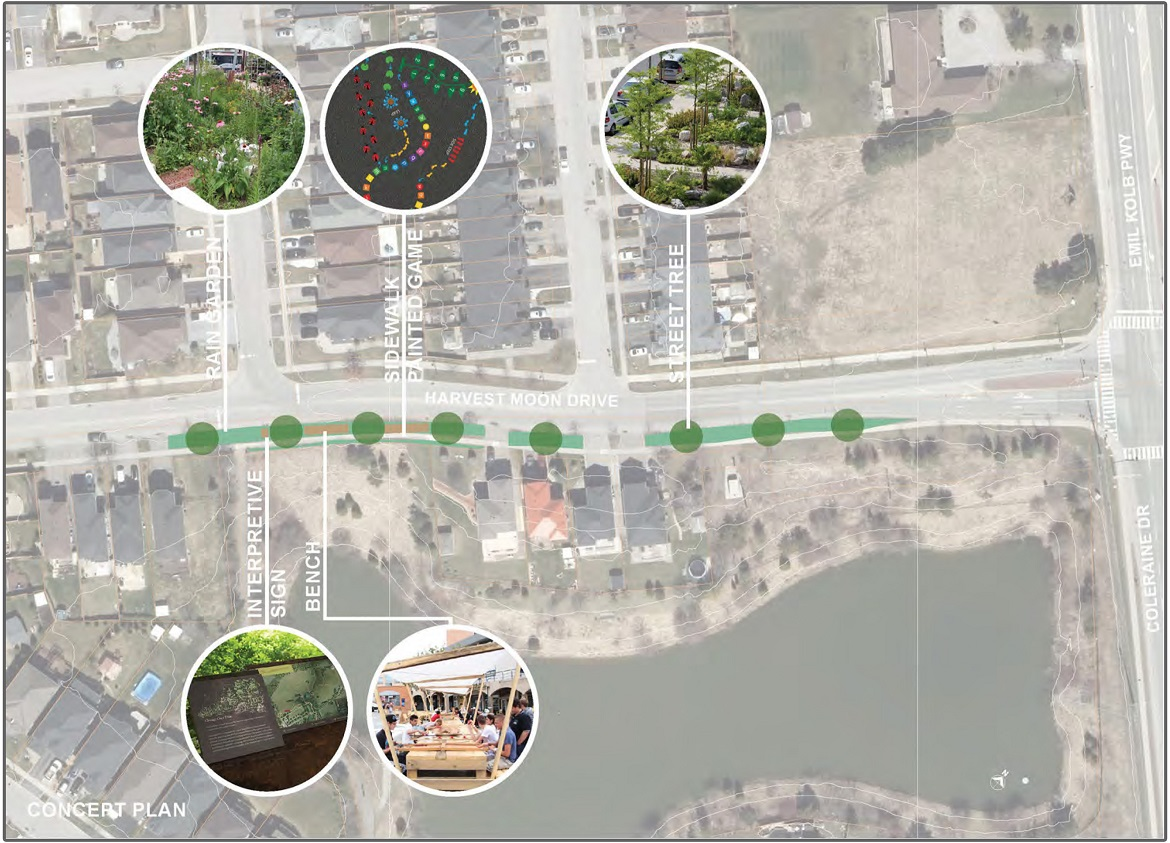 concept plan for Harvest Moon Drive at Cedargrove Road trail node