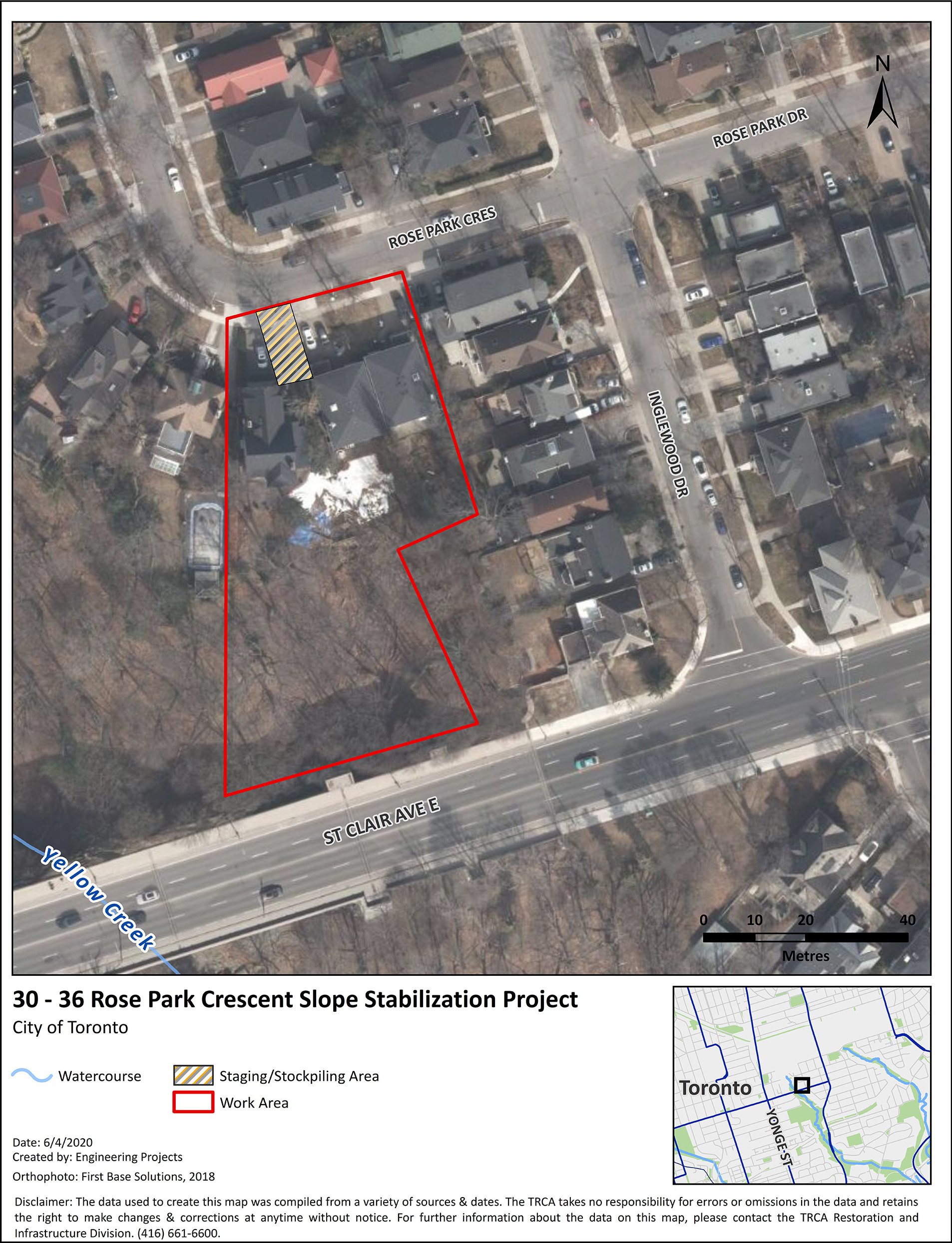 30-36 Rose Park Crescent Slope Stabilization Project Location. The red box outlines the Project area