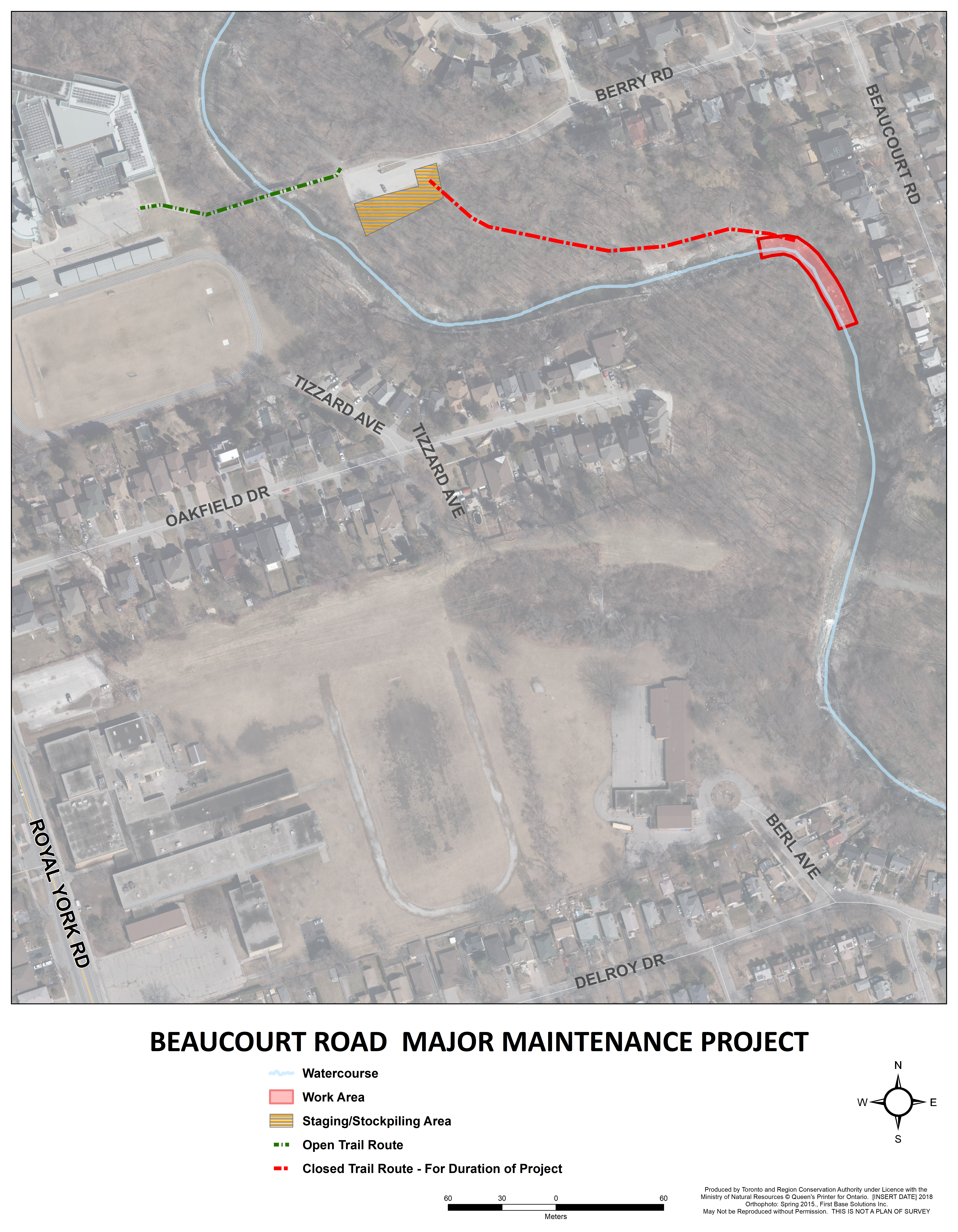 Notice of Construction map showing the closed section of trail in Berry Road Park as well as the proposed staging area.