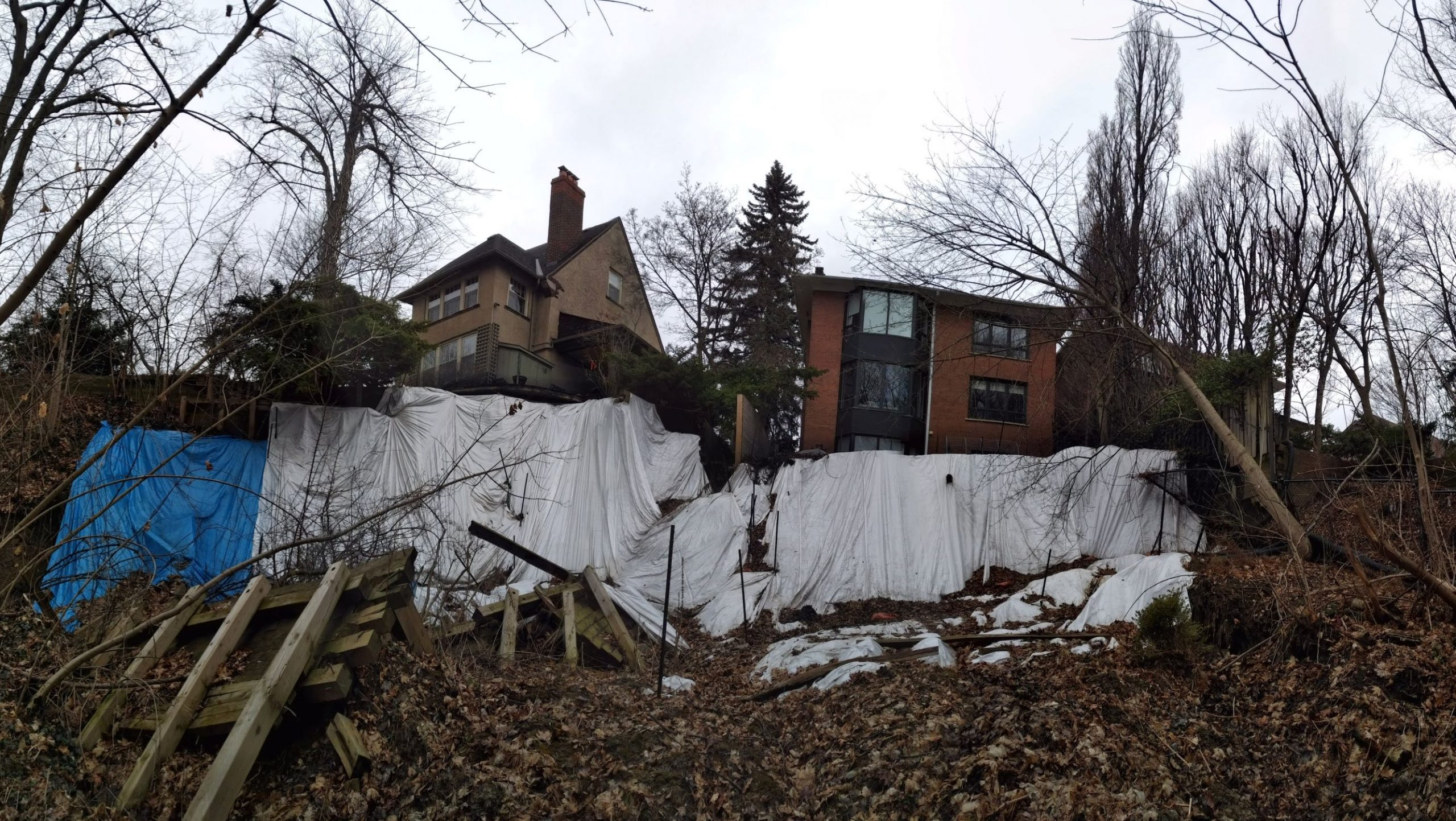 Tarps were installed by TRCA staff to prevent or reduce erosion along the slope face as an interim measure while a permanent solution was being developed.