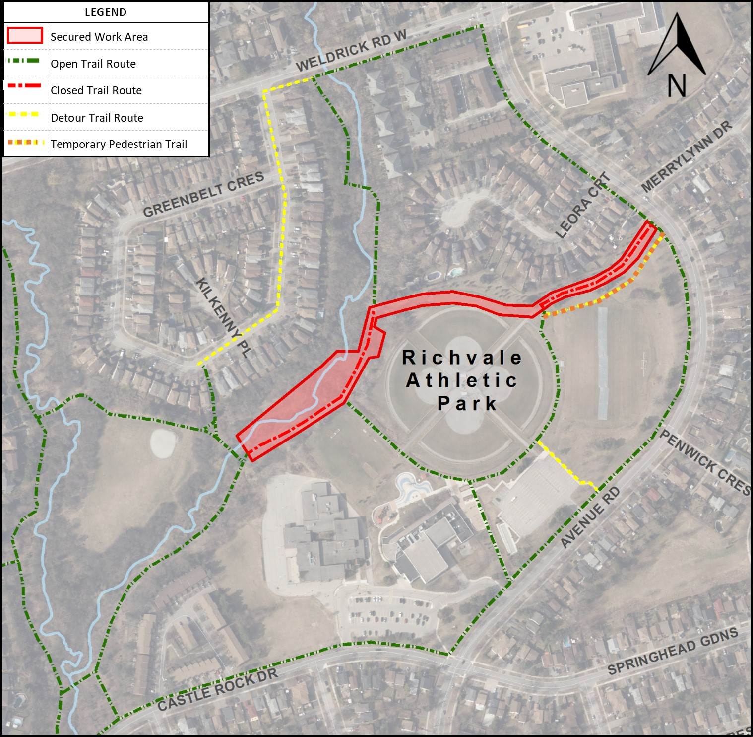 map showing trail closures in richvale athletic park
