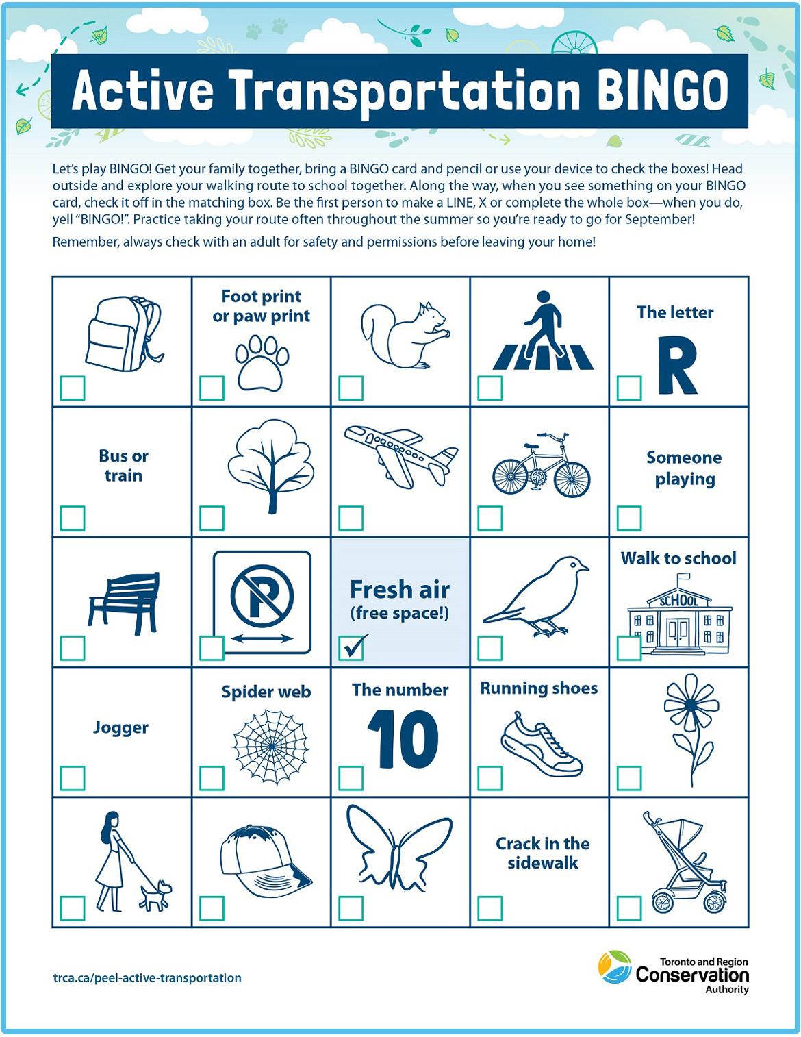 Active Transportation bingo card number two