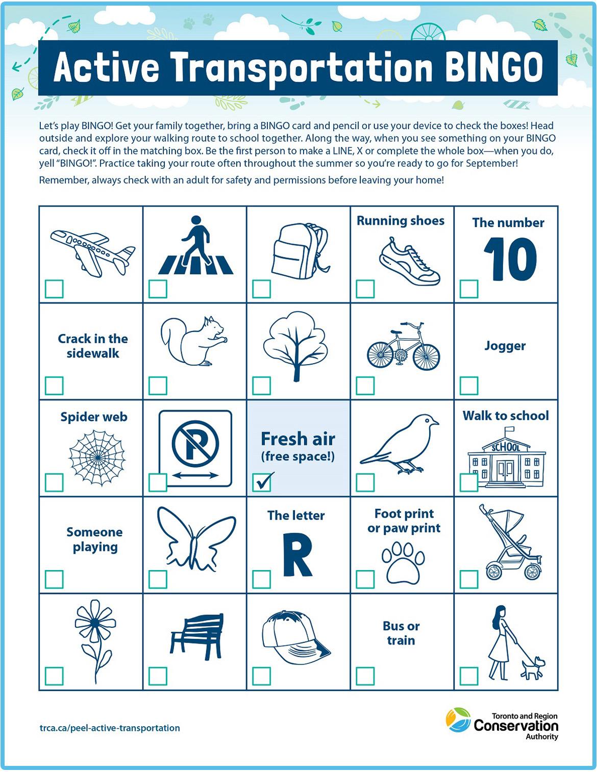 active transportation bingo card number three