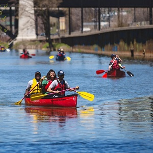 paddlers on Don River in Toronto