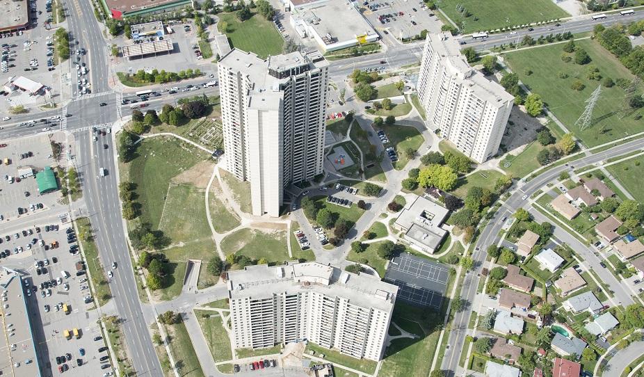 aerial view of San Romanoway Towers in Black Creek SNAP neighbourhood