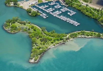 aerial photograph of Ashbridges Bay Beach