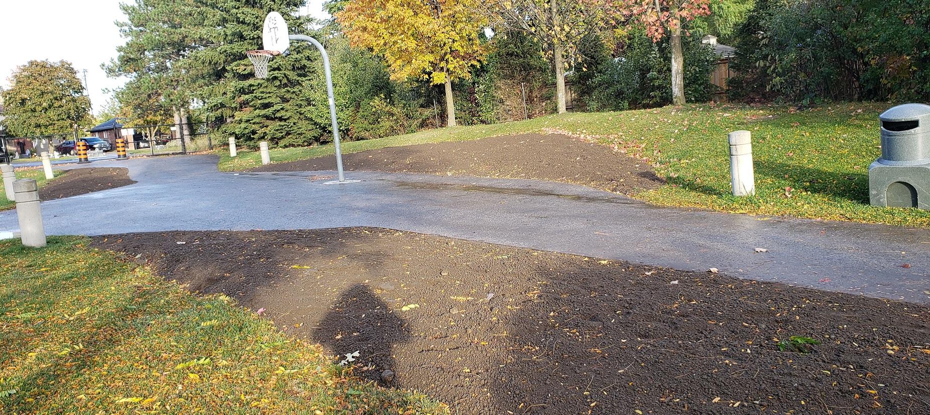 Heritage Hills Parkette in Caledon after the removal of asphalt