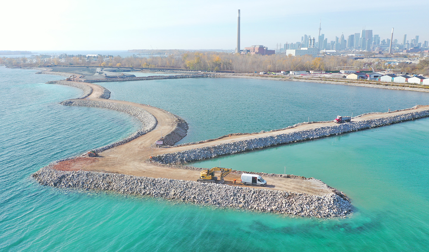 aerial view of Ashbridges Bay Landform Project Celll 2 and 3 Berms photographed in November 2020