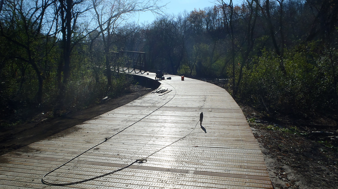 metal decking on a portion of the East Don Trail