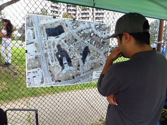 community members participate in Black Creek SNAP pop-up park event for the San Romanoway Towers revival project in 2013