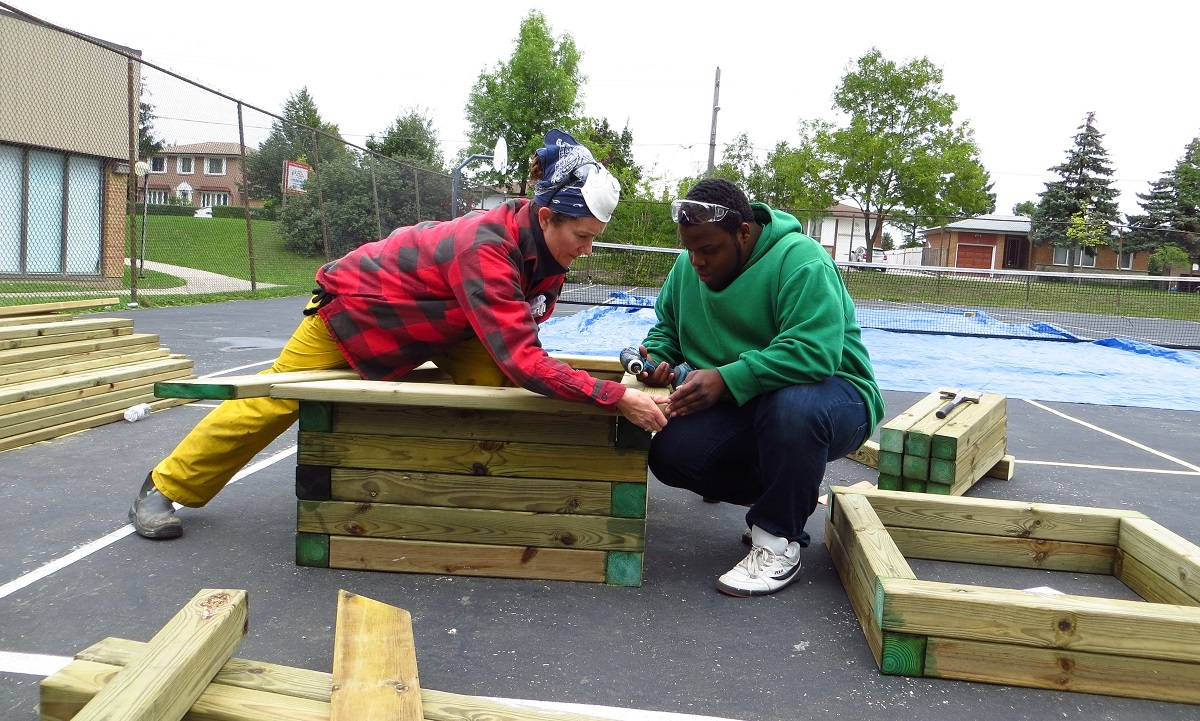 San Romanoway Towers resident participates in Black Creek SNAP sustainable carpentry workshop