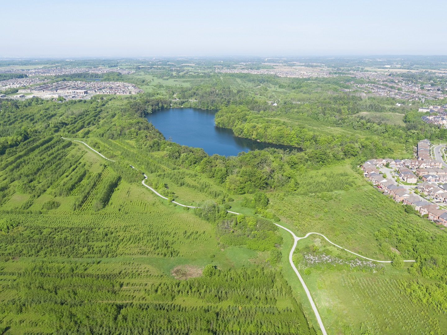 aerial view of bond lake and nearby trails