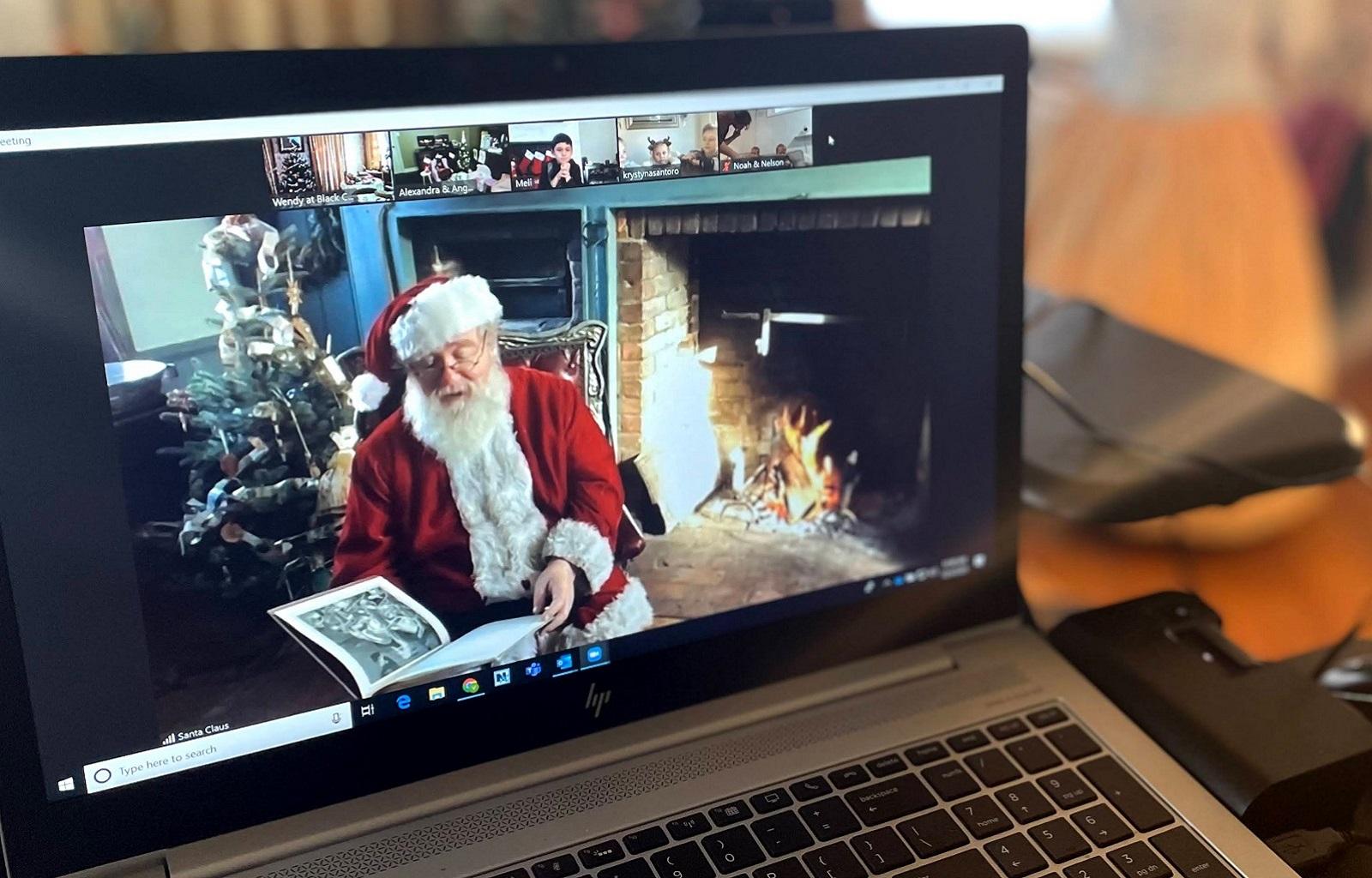 children enjoy virtual visit with Santa Claus via live stream from Black Creek Pioneer Village