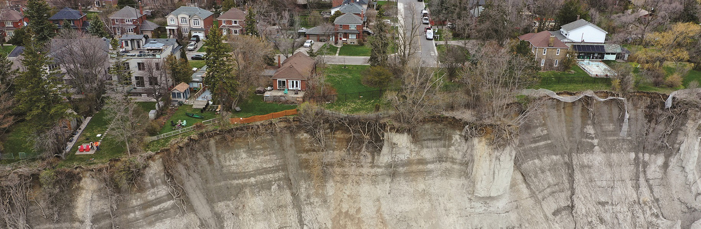 aerial view of erosion on the Scarborough Bluffs