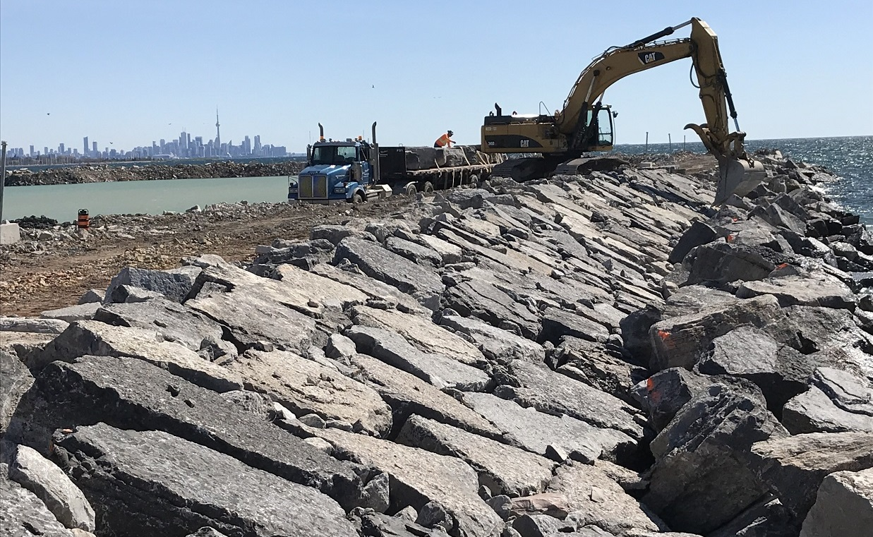 work on shoreline reventment underway as part of Lakeview Waterfront Connection project