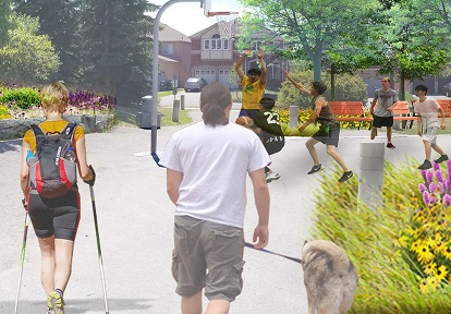 artist rendering of Heritage Hills Parkette trail node following implementation of West Bolton SNAP trail master plan