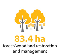 83.4 hectares of forest and woodland restoration