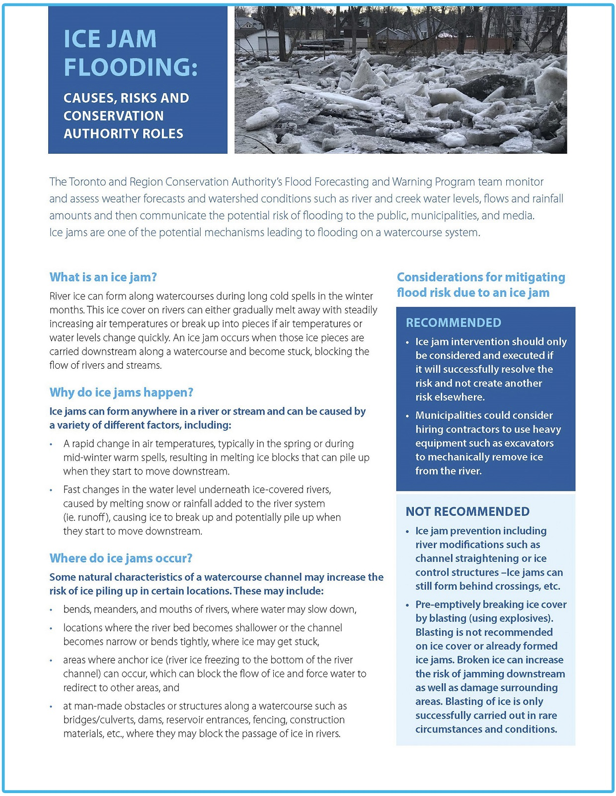 TRCA ice jams public information guide page 1
