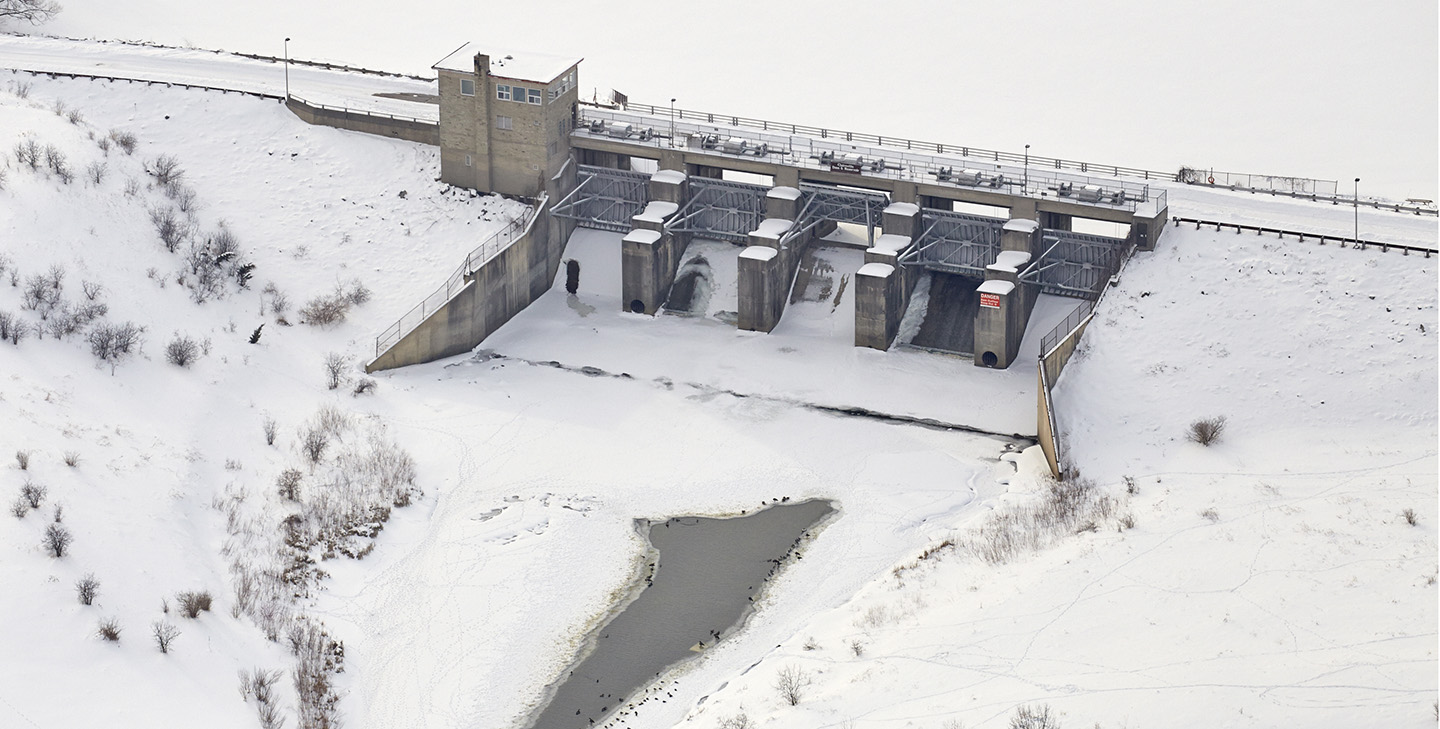 drone monitoring image of Claireville Dam
