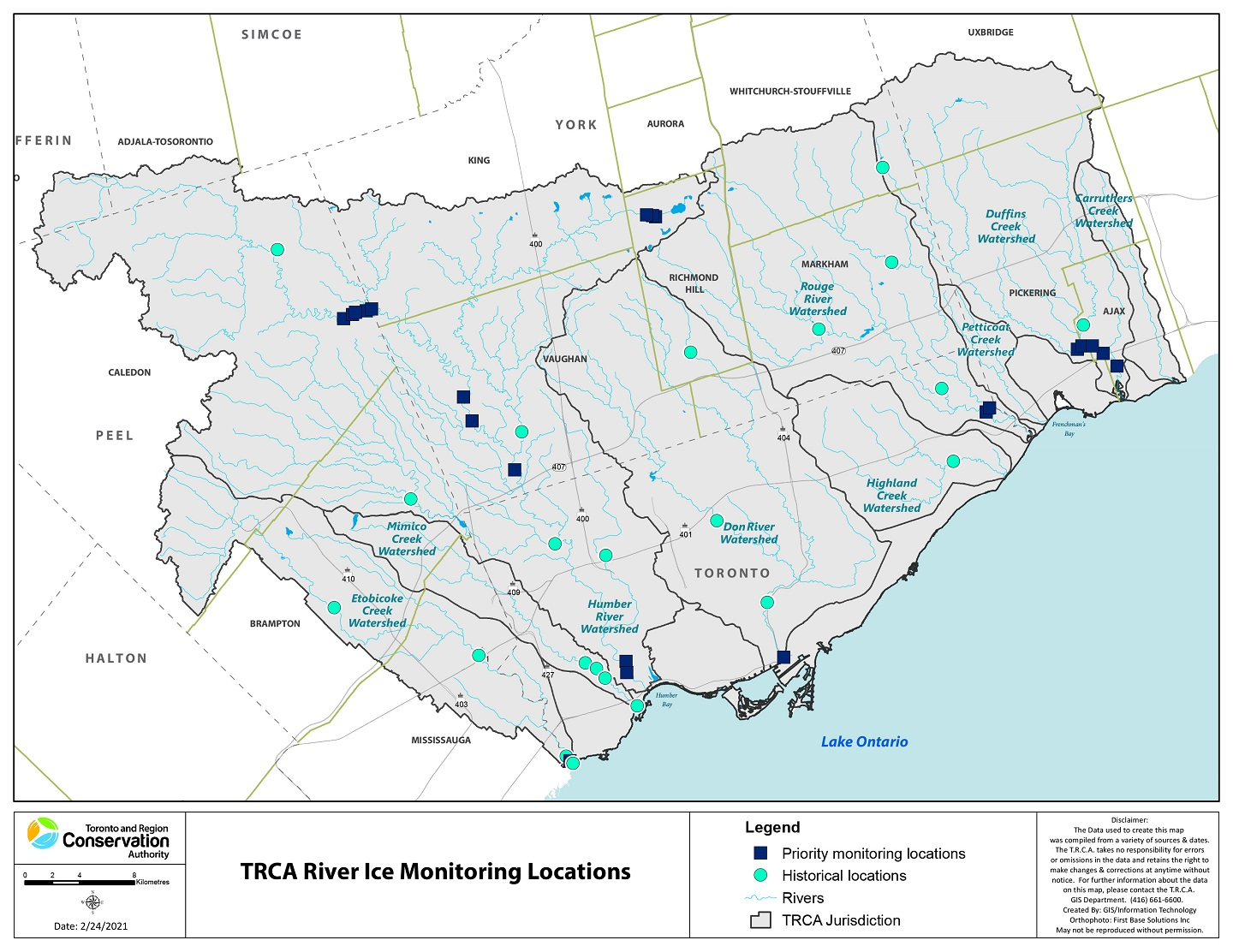map of TRCA river ice monitoring locations