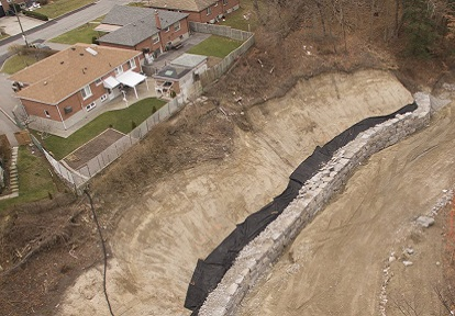 erosion control and slope stabilization works behind Appletree Court and Seeley Drive
