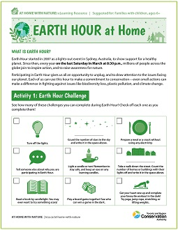 Earth Hour at Home e-learning worksheet
