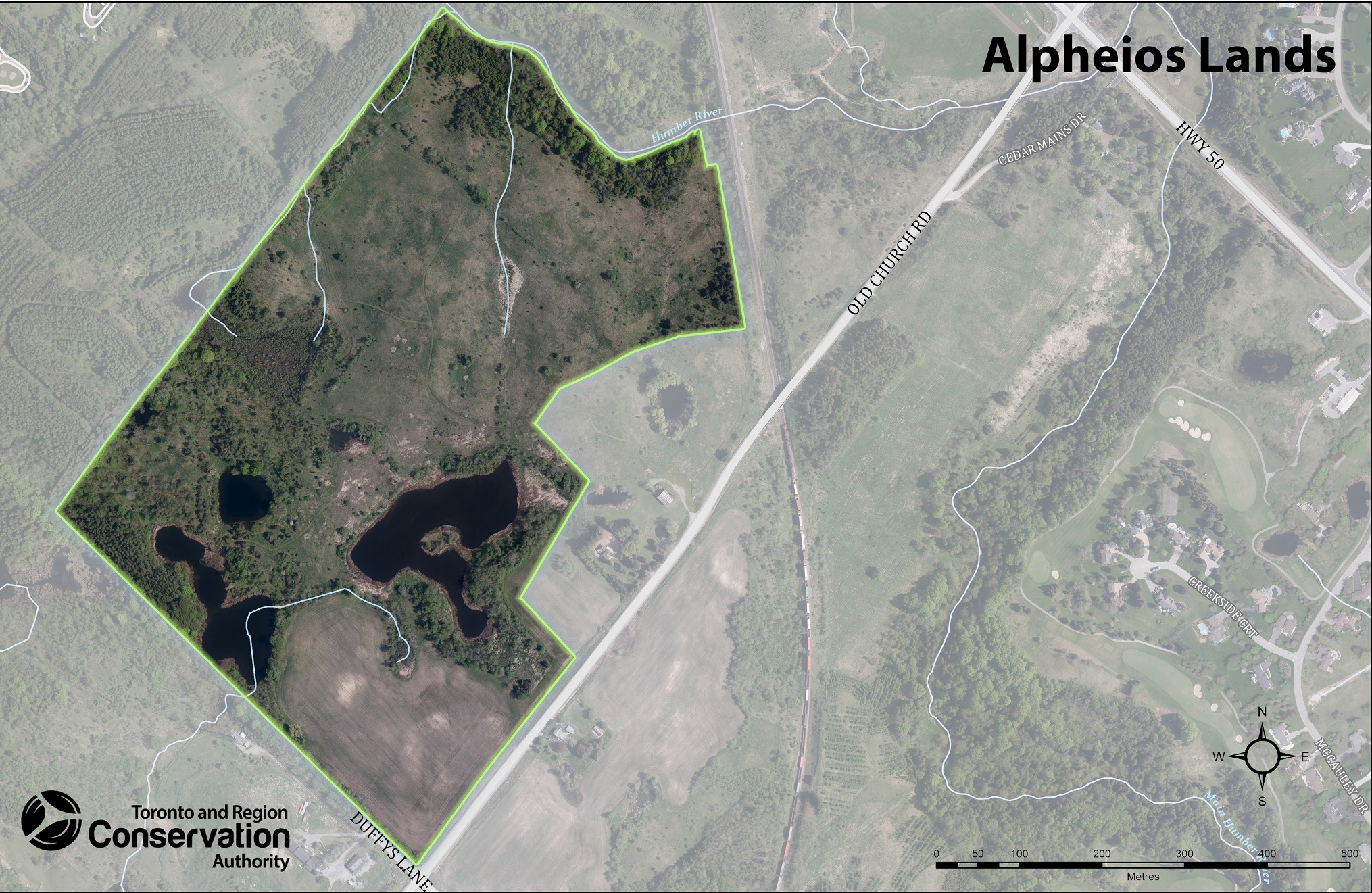 map of Alpheios Corporation land parcel acquired by TRCA