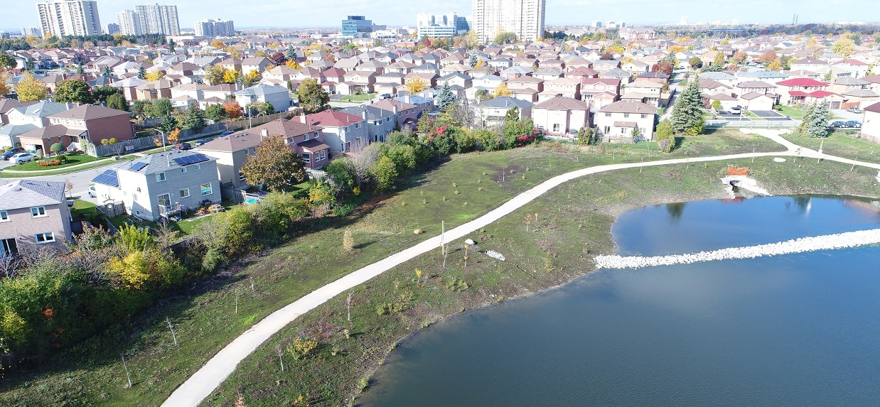 new pond in County Court SNAP neighbourhood improves water quality and provides additional amenity space and a natural area destination for residents