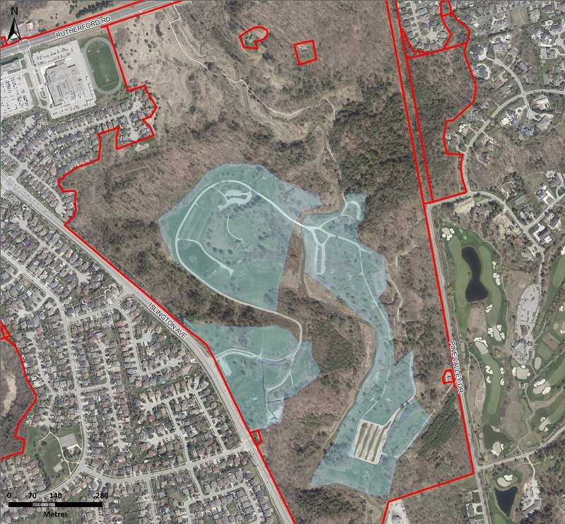 map of the area at Boyd Conservation Park where TRCA will conduct aerial application of btk to mitigate the impact of the LDD moth