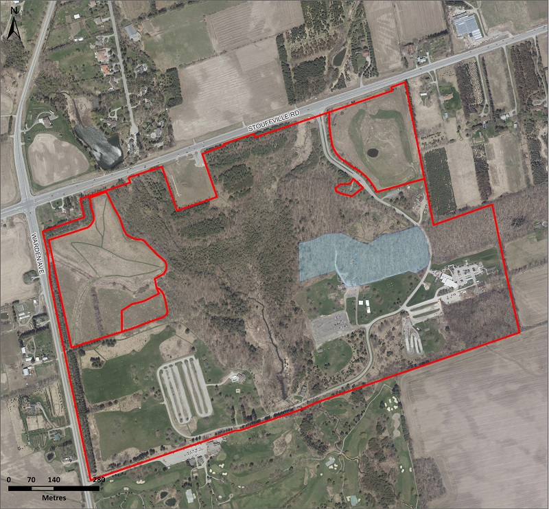 map of the area at Bruces Mill Conservation Park where TRCA will conduct aerial application of btk to mitigate the impact of the LDD moth
