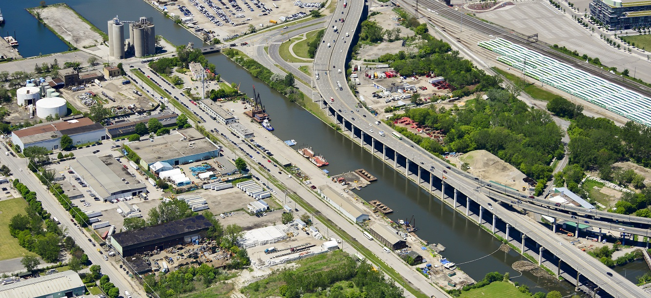 aerial view of the Toronto port lands and mouth of the Don River