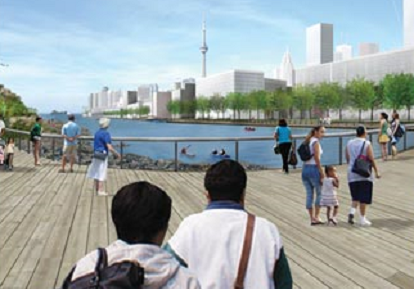 architectural rendering of completed Don Mouth Naturalization and Port Lands Flood Protection project