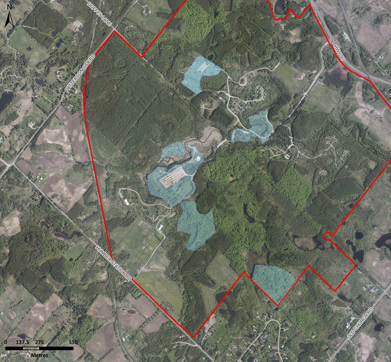 map of the area at Albion Hills Conservation Park where TRCA will conduct aerial application of btk to mitigate the impact of the LDD moth