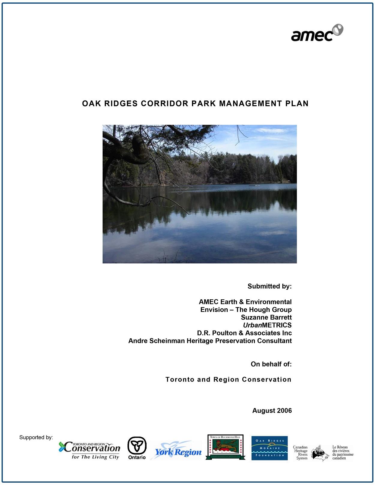 Oak Ridges Corridor Park Management Plan -2006