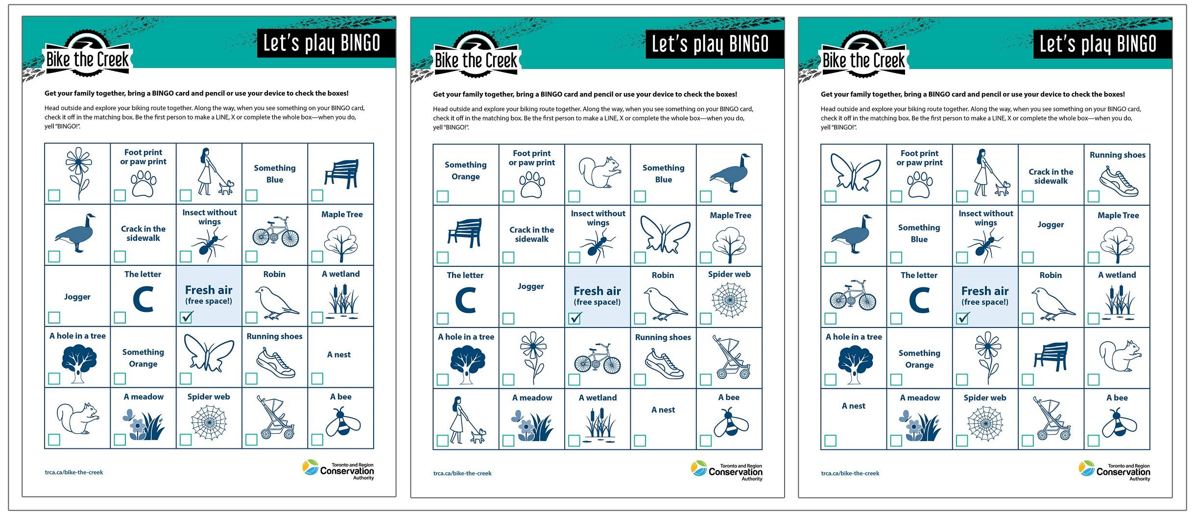downloadable Bike the Creek bingo cards