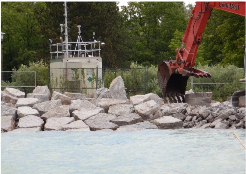 in summer 2020 marine based equipment will placed 85000 metric tonnes of various types of aggregate along the eroded shoreline at Gibraltar Point