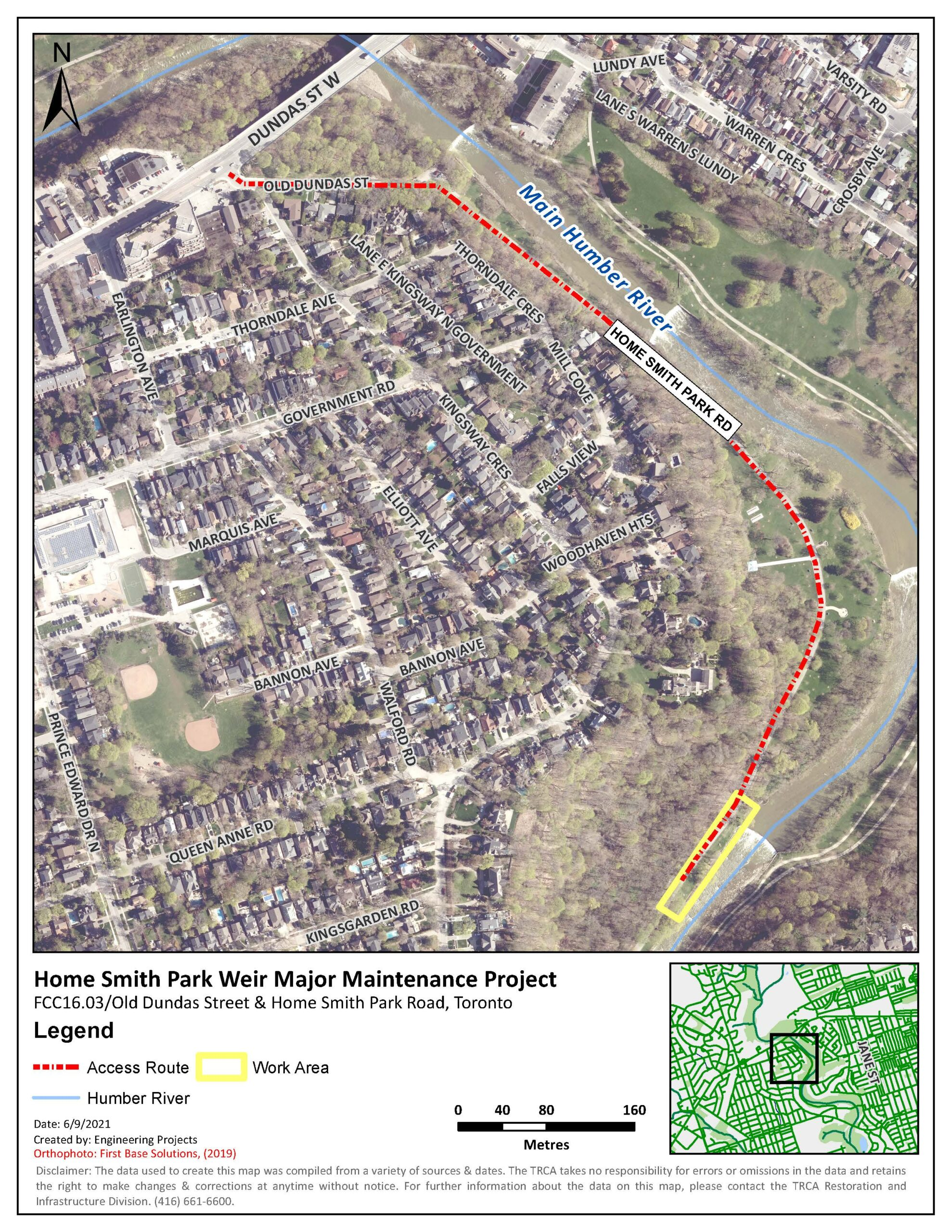 Proposed access route and work area within Home Smith Park.