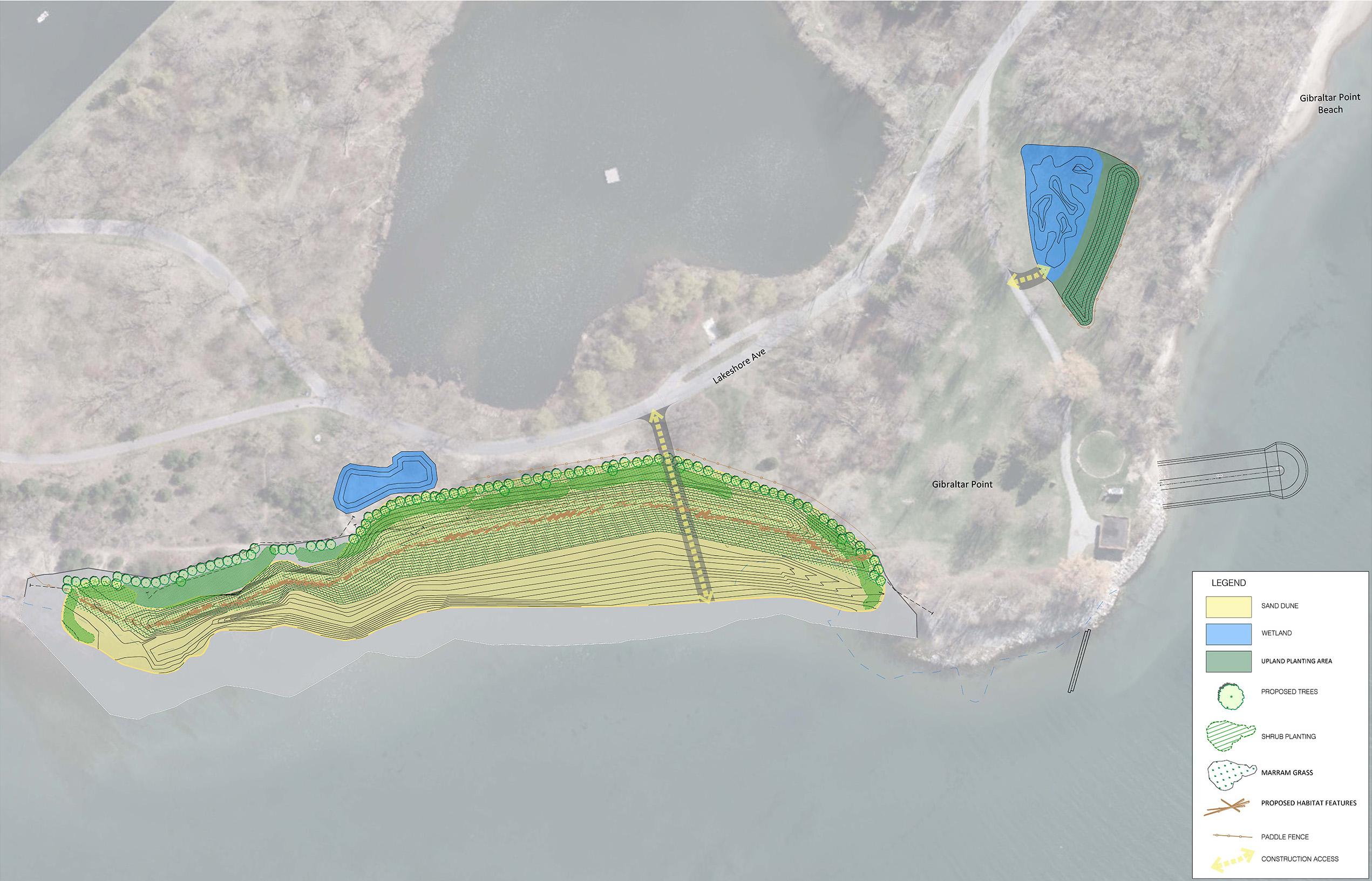 map depicting Gibraltar Point nearshore habitat plan
