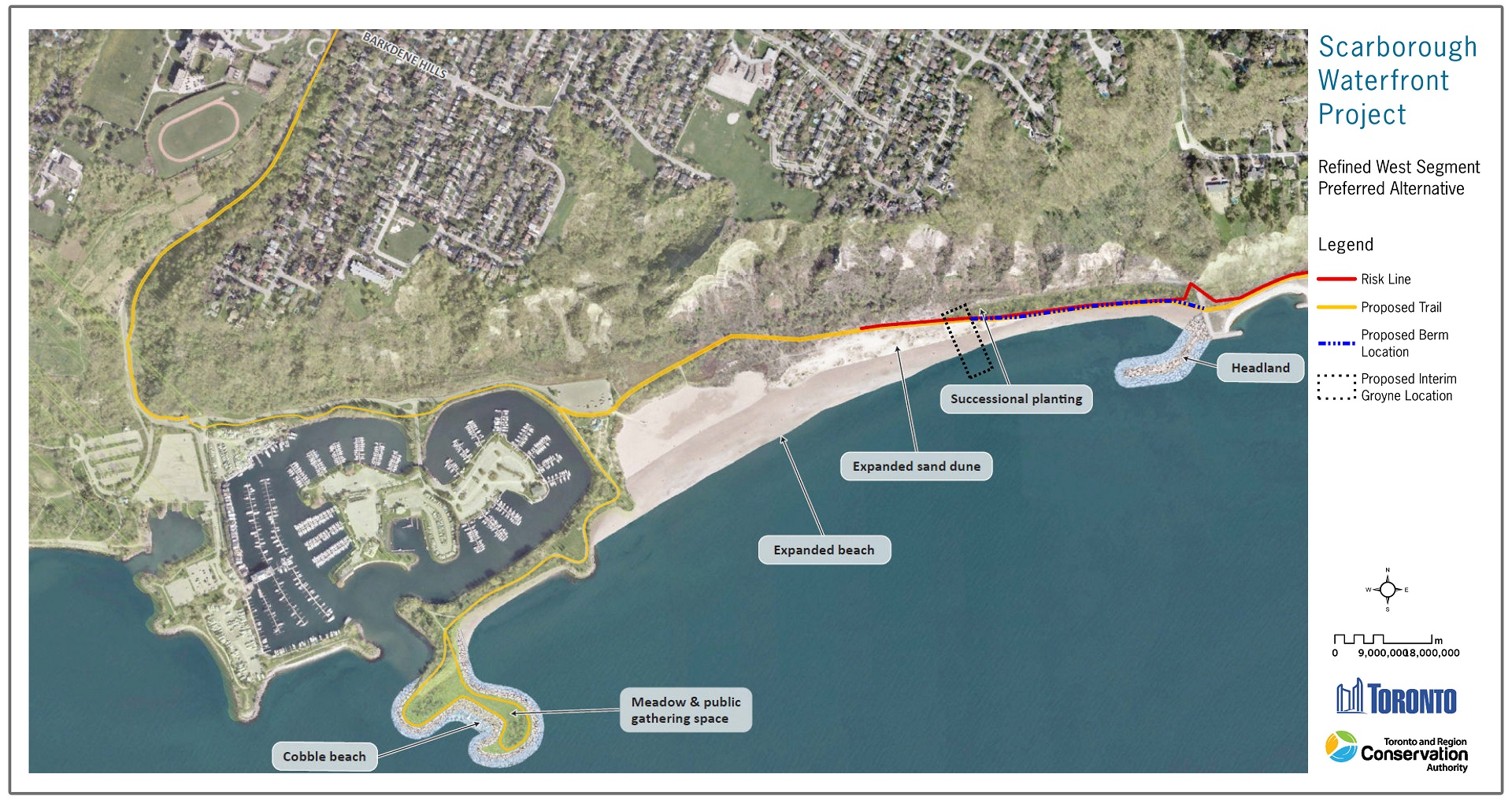 map of Scarborough Waterfront Project west segement