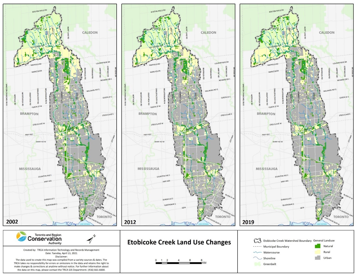 land use map shows the increasing urbanization of the Etobicoke Creek watershed from 2012 to 2019