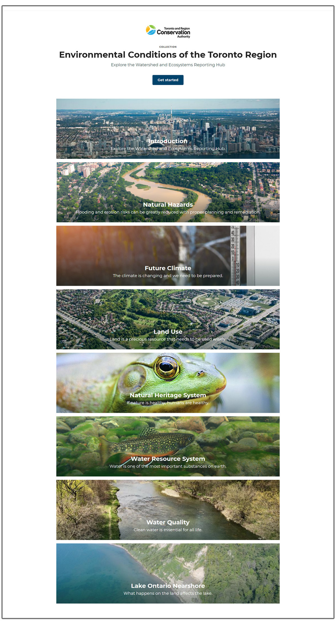 homepage of TRCA Watershed and Ecosystem Reporting Hub